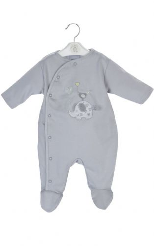 Elephant & Bird Embroidered Sleepsuit